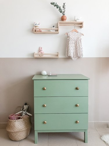 pastel nursery idea with IKEA hacked dresser and color blocked wall