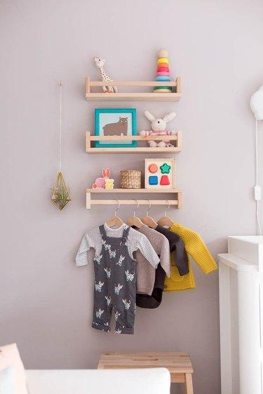 Nursery idea with IKEA spice racks for used for shelving