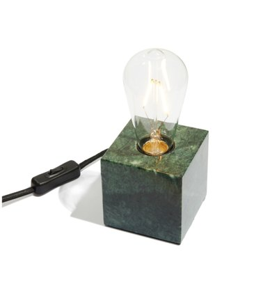 marble base table lamp with exposed bulb