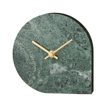 green marble table clock with brass hands