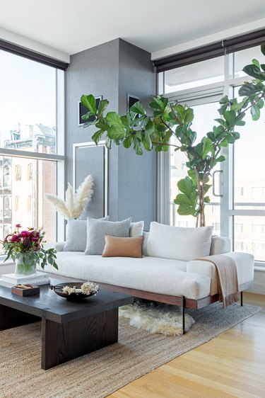 Living Room with plants and white couch