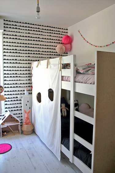 kids playroom idea with DIY Bunk Bed Fort by Handmade Charlotte