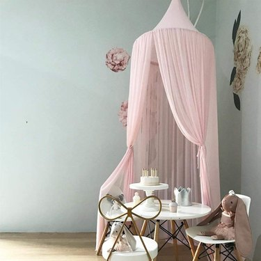 kids playroom idea with Round Pink Canopy from Amazon