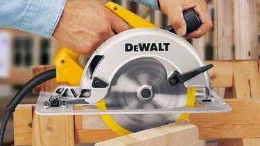 Crosscutting with a circular saw.