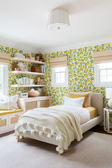 Stuffed Animal Storage in Little girl's room with lattice cabinet doors and open shelves by Ginny MacDonald Design