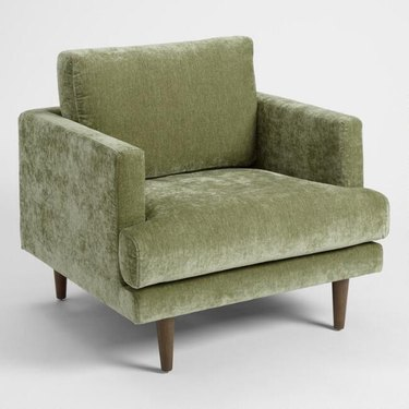 velvet upholstered lounge chair