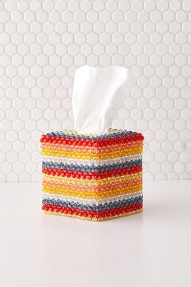 beaded multicolored tissue box