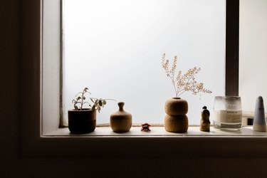 shelf with vases and canisters