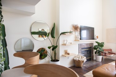 Living room with fireplace, plants, neutral colors, mirrors on wall