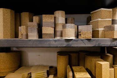 shelf with varying sizes of cork