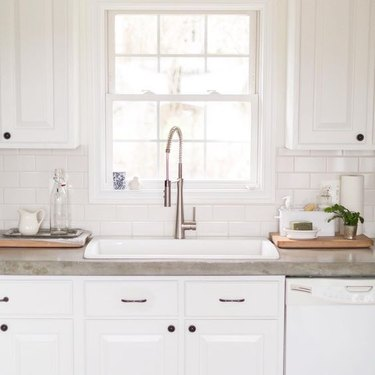 kitchen with concrete countertops