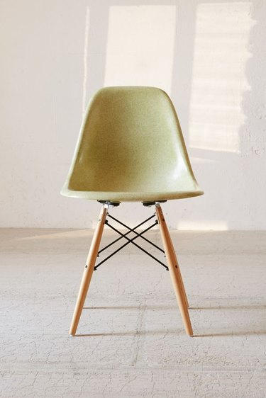 side shell chair in light green