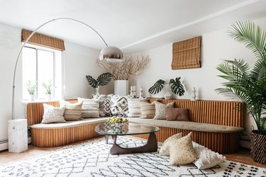 midcentury living room with textural details