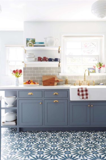 gray and blue kitchen with patterned floor tile