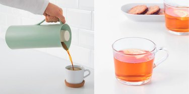vacuum flask and glass mug from Ikea