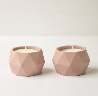 pink geometric candle holder set