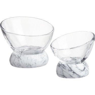 asymmetrical glass and marble bowls