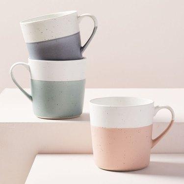 color block pastel speckled mugs