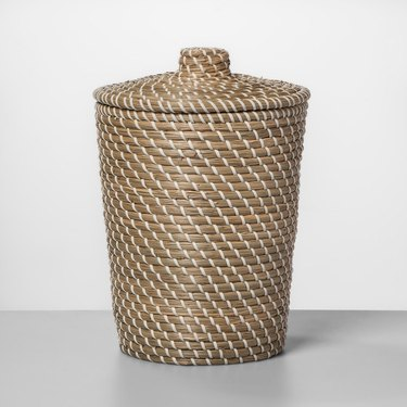 natural brown and white weave basket