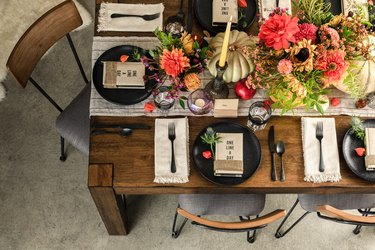 Overhead shot of rustic holiday table