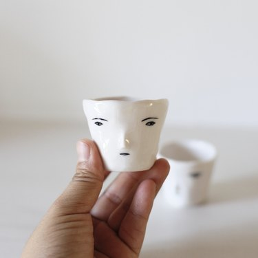 soju cup with face