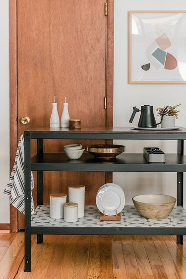 Make good use of all the extra open kitchen storage space.