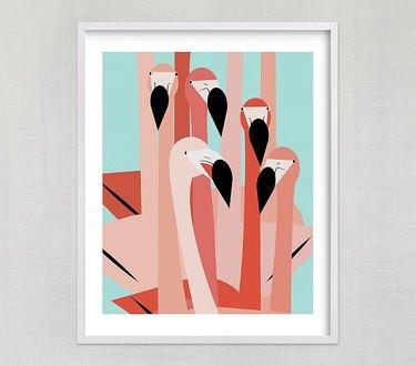 flamingo bathroom art
