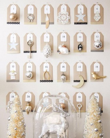 DIY advent calendar made using silver and gold ornaments