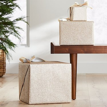 Crate and Barrel Champagne Glitter Wrap, $9.95