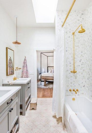 kids bathroom idea with tub/shower combo, Spanish tiles