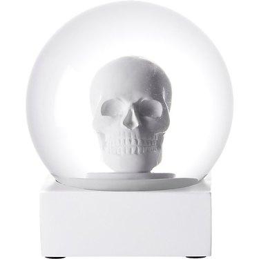 white skull snowglobe