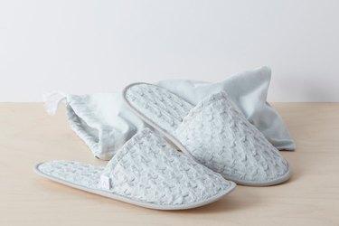light gray waffled slippers