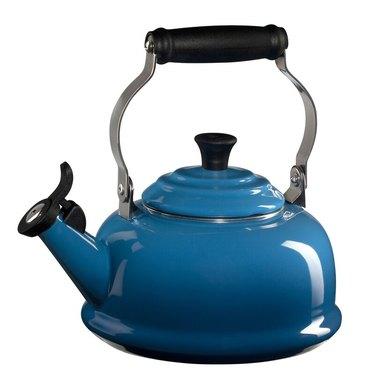 blue stovetop kettle