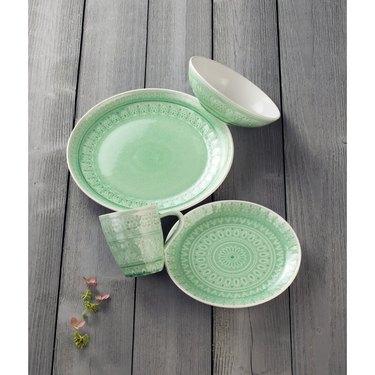 light green dinnerware set