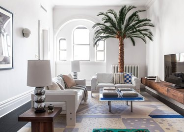 contemporary living room with palm tree decor