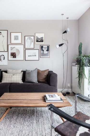 contemporary living room with gallery wall