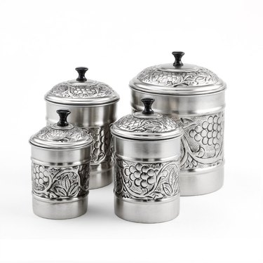 silver embossed kitchen canister set