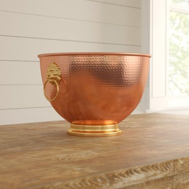 copper beverage tub with gold accents