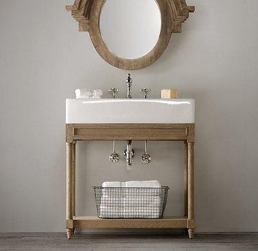 wood console bathroom sink