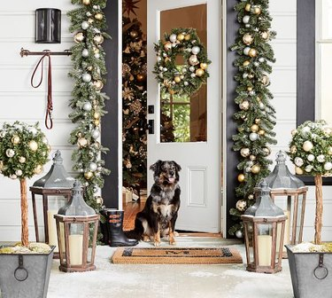 gold and silver holiday front porch decor