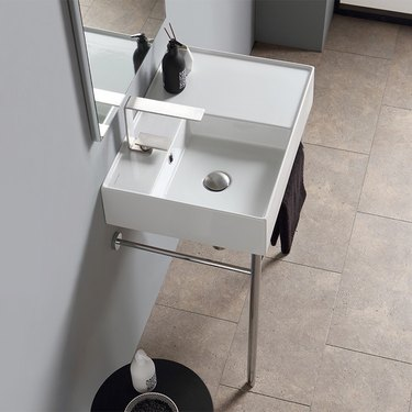 rectangular ceramic console bathroom sink with polished chrome stand