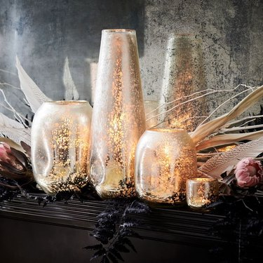 mercury glass candleholders in silver and gold for holiday decor