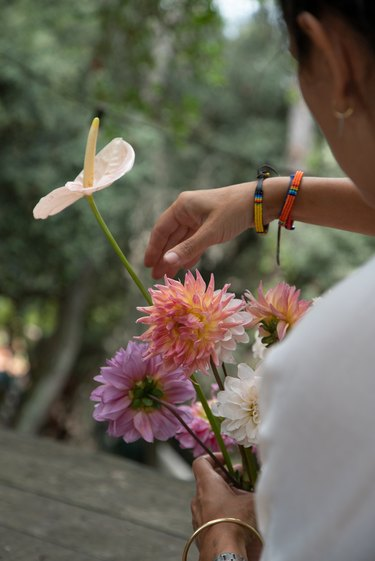 Manuela Sosa holding flowers