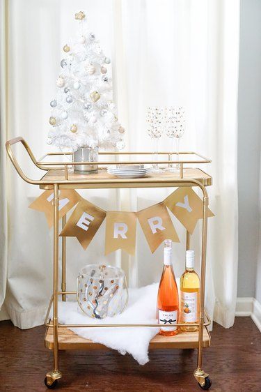 bar cart decorated with holiday decor