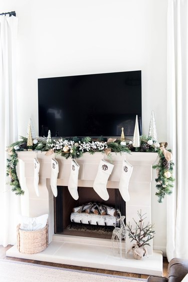 silver and gold holiday mantel