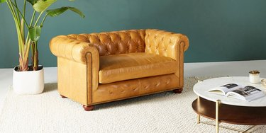 brown leather loveseats for small spaces