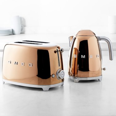 rose gold retro toaster and tea kettle
