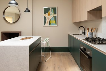 green kitchen cabinetry