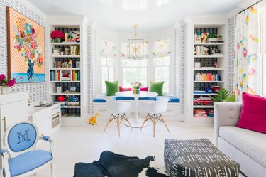 Colorful kids playroom idea with pops of pink, green, and blue