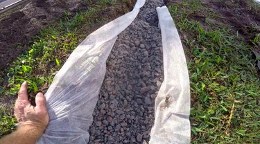 Building a French drain.